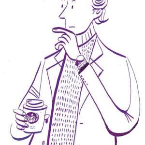 スターバックスのコーヒーを飲む男性のイラストレーション