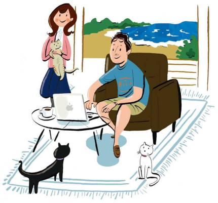イラストレーター豊島宙が描いた鎌倉のペット保険小町のイラストレーション