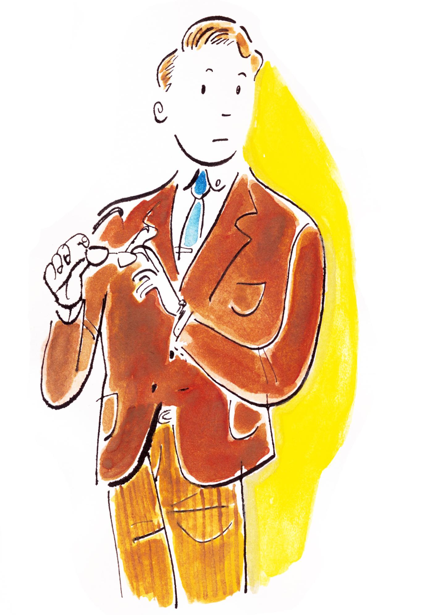 イラストレーター豊島宙が描いたメンズファッションイラストレーション