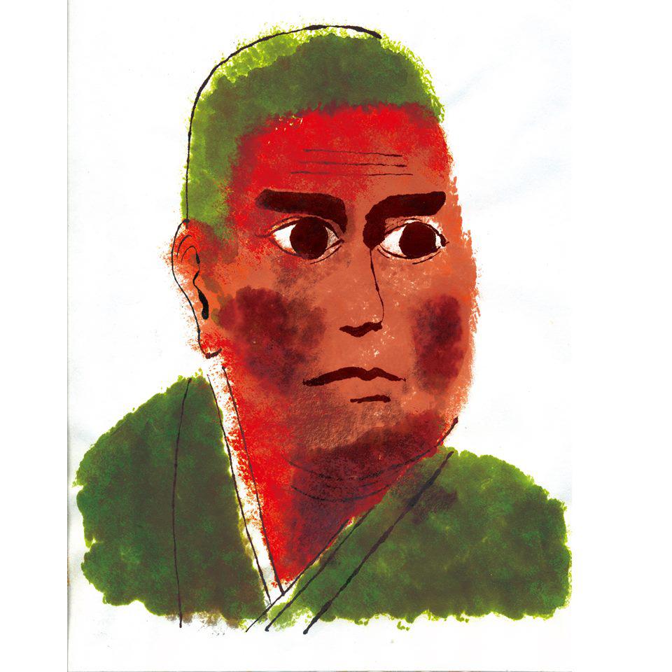 イラストレーター豊島宙が描いた西郷隆盛の似顔絵