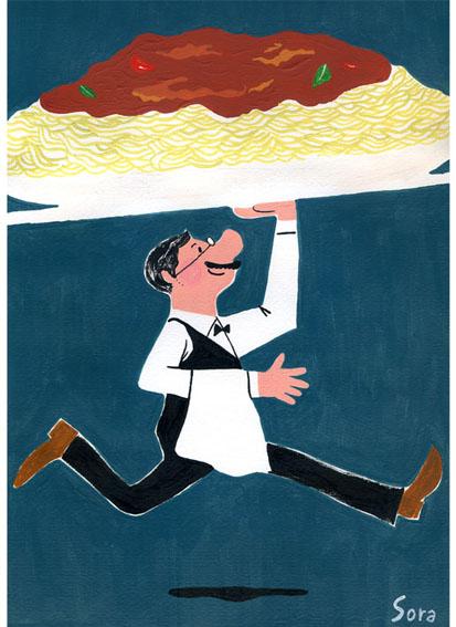 イラストレーター豊島宙が描いたおしゃれな料理のイラスト