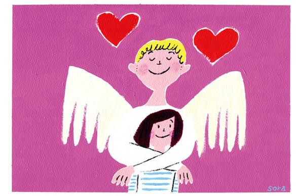 絵の具で描いた手描きの子供向けのかわいいイラスト