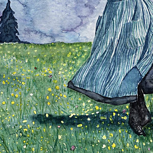 detalhe da aquarela da Noviça rebelde