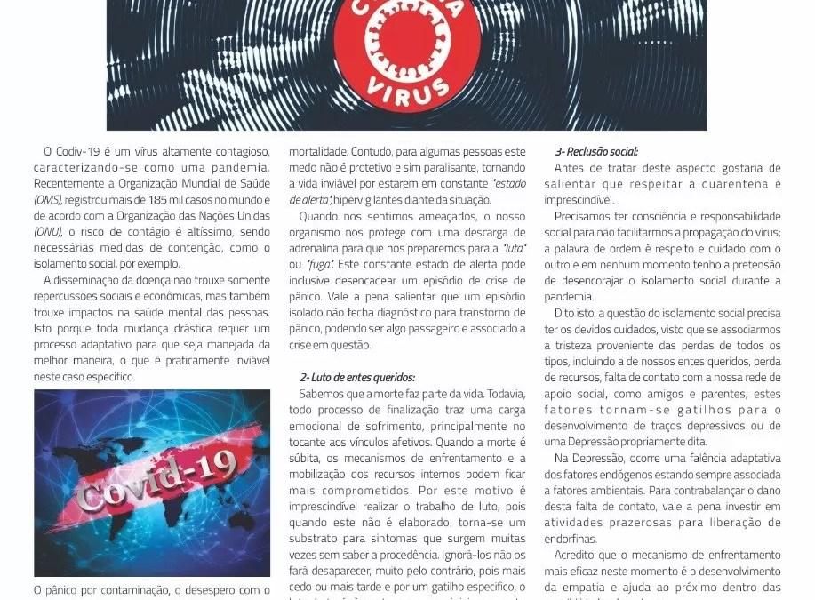 Participação na Revista Statto, temática do Coronavírus e repercussões na saúde mental.