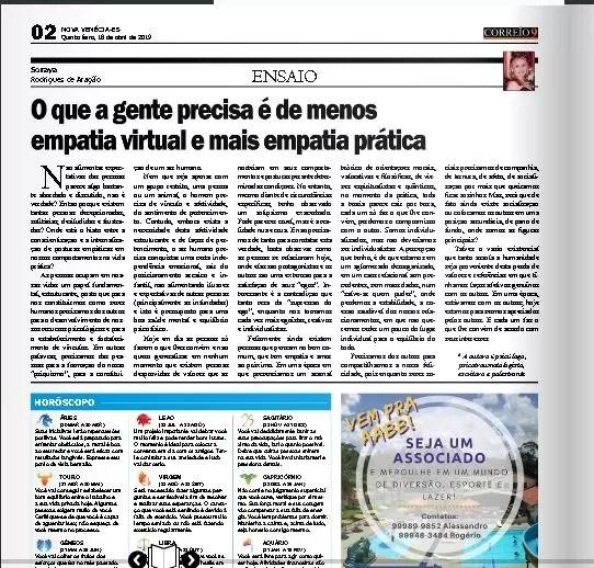 Participação no Jornal Correio 9 Edição 1074