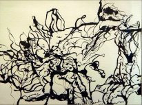 'Untitled lilies study' ink on paper, 19 by 15 inches, 2011 (sold)