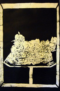'Untitled still life lll' ink on paper, 19 by 15 inches, 2011 (sold)