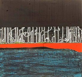 'Calligraphic landscape' oil and acrylic on canvas, 36 by 36 inches, 2013 (sold)