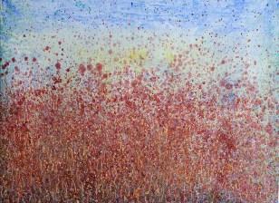 'Garden' oil and acrylic on canvas, 36 by 48 inches, 2014 (sold)