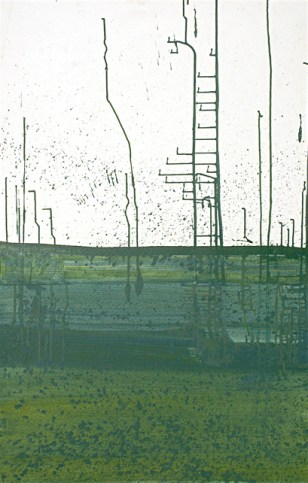 'Urban landscape' oil and acrylic on canvas, 36 by 48 inches, 2013 (sold)