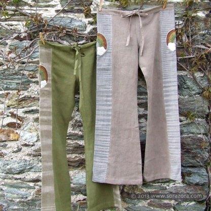 Rainbow Hike Bell Bottom PantsHand Woven Natural Dye Hemp Rainbow Hike Bell Bottom Pants.