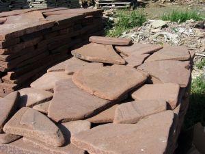 песчаник плитняк красный галтованный 3см