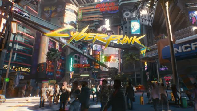 A colourful sci-fi metropolis with the Cyberpunk 2077 logo.
