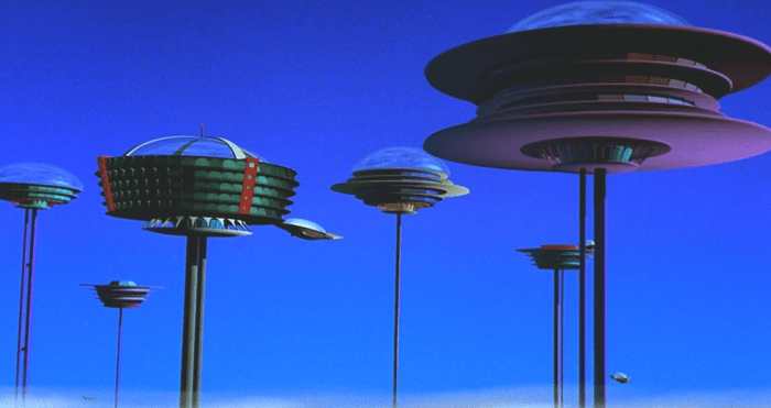 A futuristic suspended city from The Jetsons cartoon. Orbit City is a great example of atompunk.