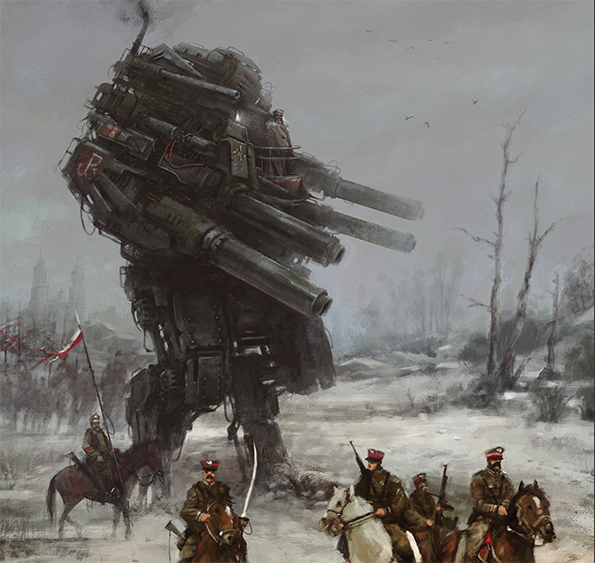 Horse cavalry with rifles ride next to a large diesel punk mech with many guns.