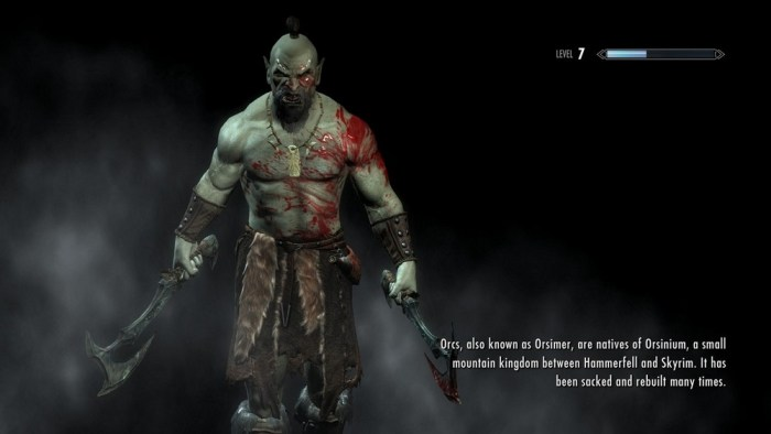 An orc from Skyrim, holding two axes, shirtless, with a leather kilt.