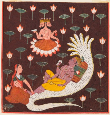 In the creation myth of Vishnu, Lakshmi woke him gently by massaging his feet. Then, out of his navel emerged a lotus flower, and Vishnu gave birth to Brahma, the god of creation.