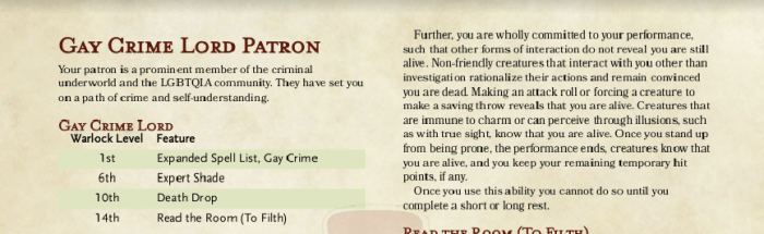 Gay Crime Lord is a patron for warlocks that'll make your next queer game that much better.