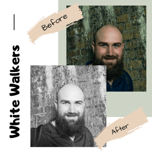 side by side comparison of photo of man with preset and without