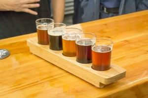 Sample glasses of Helms Brewing beer