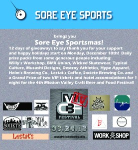 Flyer for Sore eye Sportsmas, 12 days of giveaways starting 12/10/12