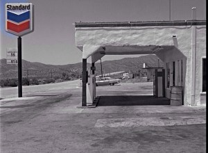 The gas station with the pay phone (note the 1974 gas prices on the far left).
