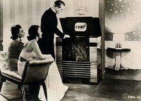 Looking at television.