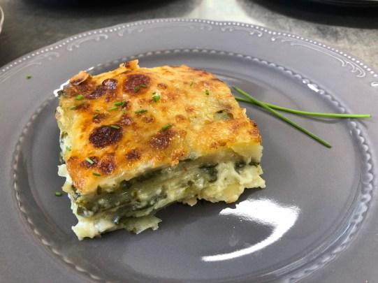 lasagne di patate agli spinaci