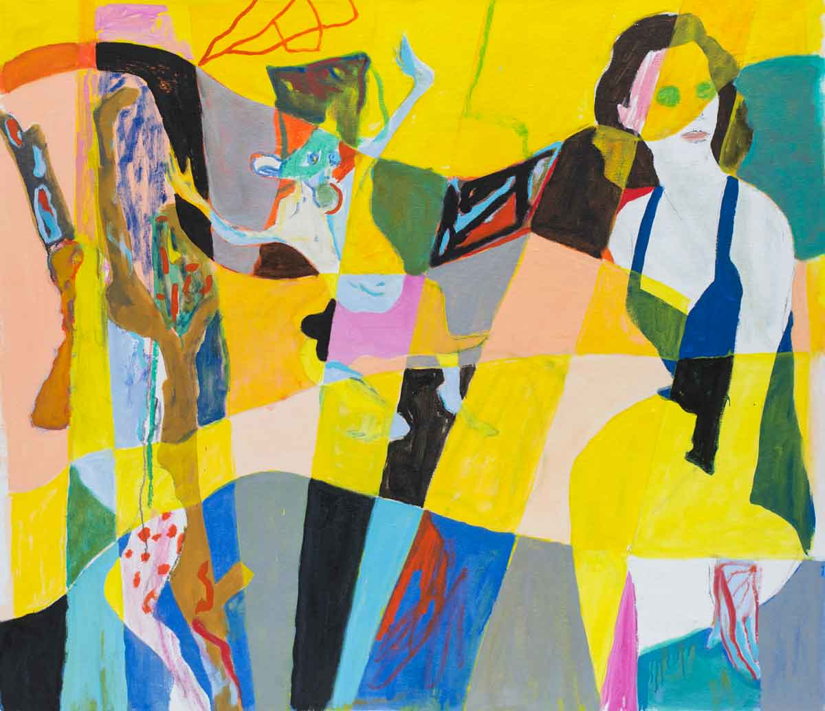 Tre Verdener, olie på lærred, 120x136 cm, 2014