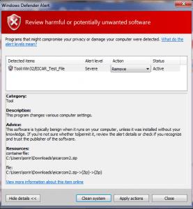 Microsoft Defender detecting Eicar Test File as Severe