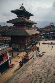This temple of Bhairav- the ferocious form of Shiva- was first built by Jagat Jyoti Malla as a one storied temple and later king Bhupatindra Malla added two more stories to it in 1718 AD. The legend says that Vishwanath, a manifestation of Shiva, once visited Bhaktapur to observe Bisket Jatra and when the locals recognize him they beheaded him in order to retain him permanently in the temple.