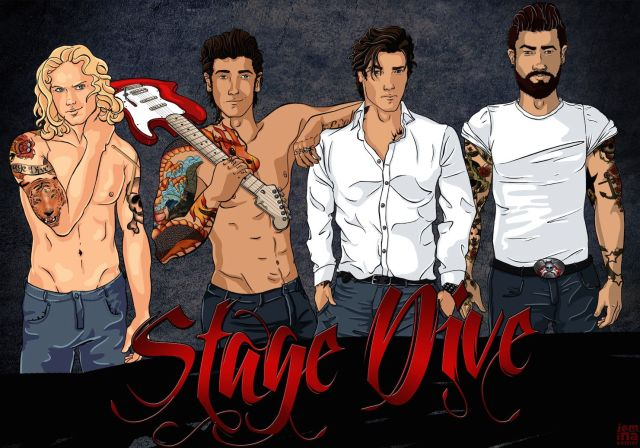 Rajongói alkotás a Stage Dive zenekar tagjairól.