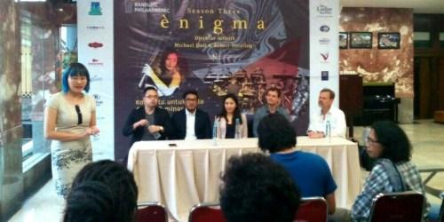 Konferensi pers konser orchestra Enigma Bandung Philharmonic di Dago Tea House Taman Budaya Jawa Barat