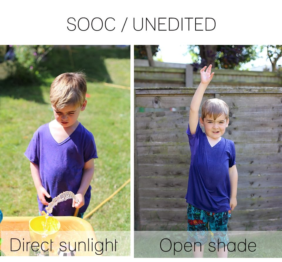 direct sunlight open shade