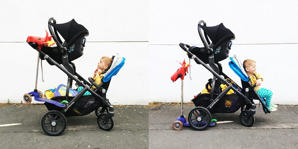 Uppababy Vista newborn and toddler double pushchair modes