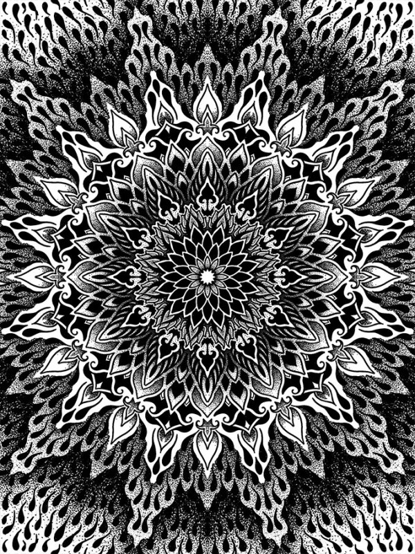Impression Cosmos dotwork par Romain Blvck