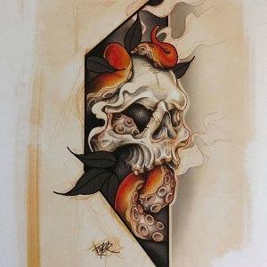 Print numéroté et signée de Max Toyer - Skullopus