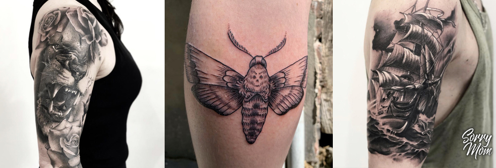 tatouage noir & gris