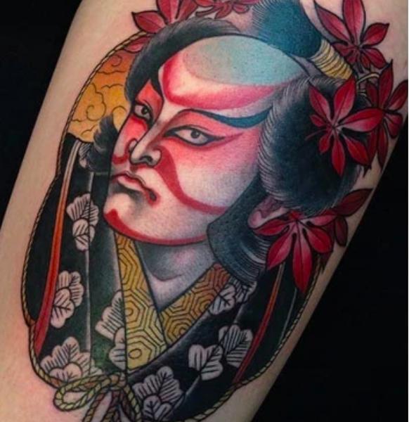 Tatouage masque kabuki