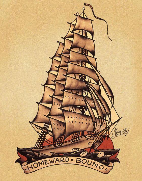 Dessin tatouage bateau