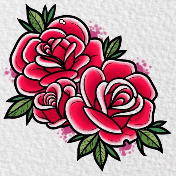 Dessin tatouage rose