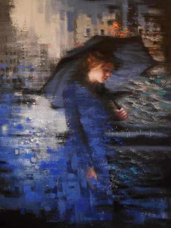"""""""A Long Travel and the Lady in Blue"""" - Open Edition Print by Chin h Shin"""