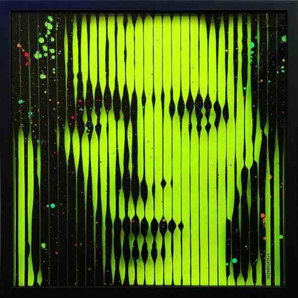 """""""David Bowie Glow in the Dark + UV reactive Original painting on Glass"""" - Original Artwork by VeeBee VeeBee"""