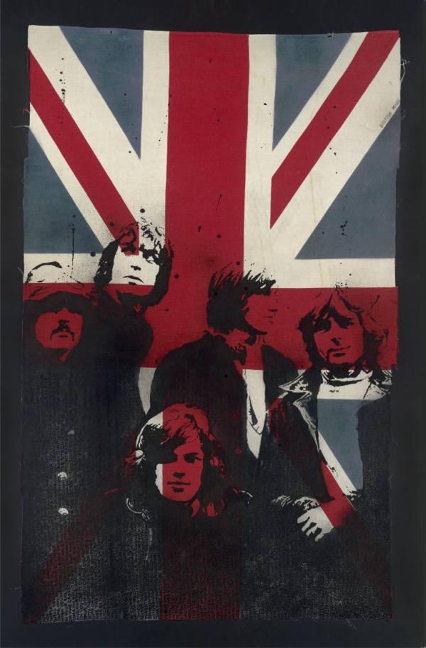 """""""Limited edition Signed Print: Pink Floyd on Vintage Union Jack XL"""" - Original Artwork by VeeBee VeeBee"""