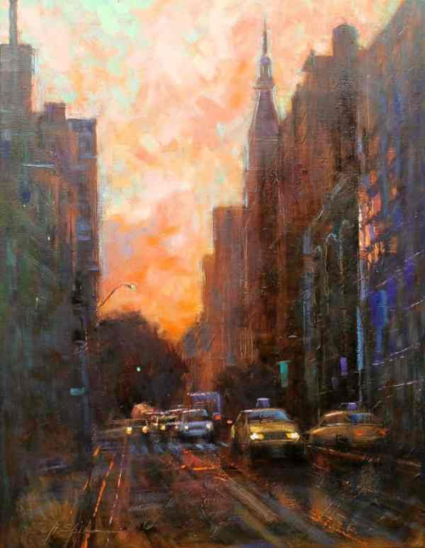 """Streets of Manhattan-SOLD"" - Open Edition Print by Chin h Shin"