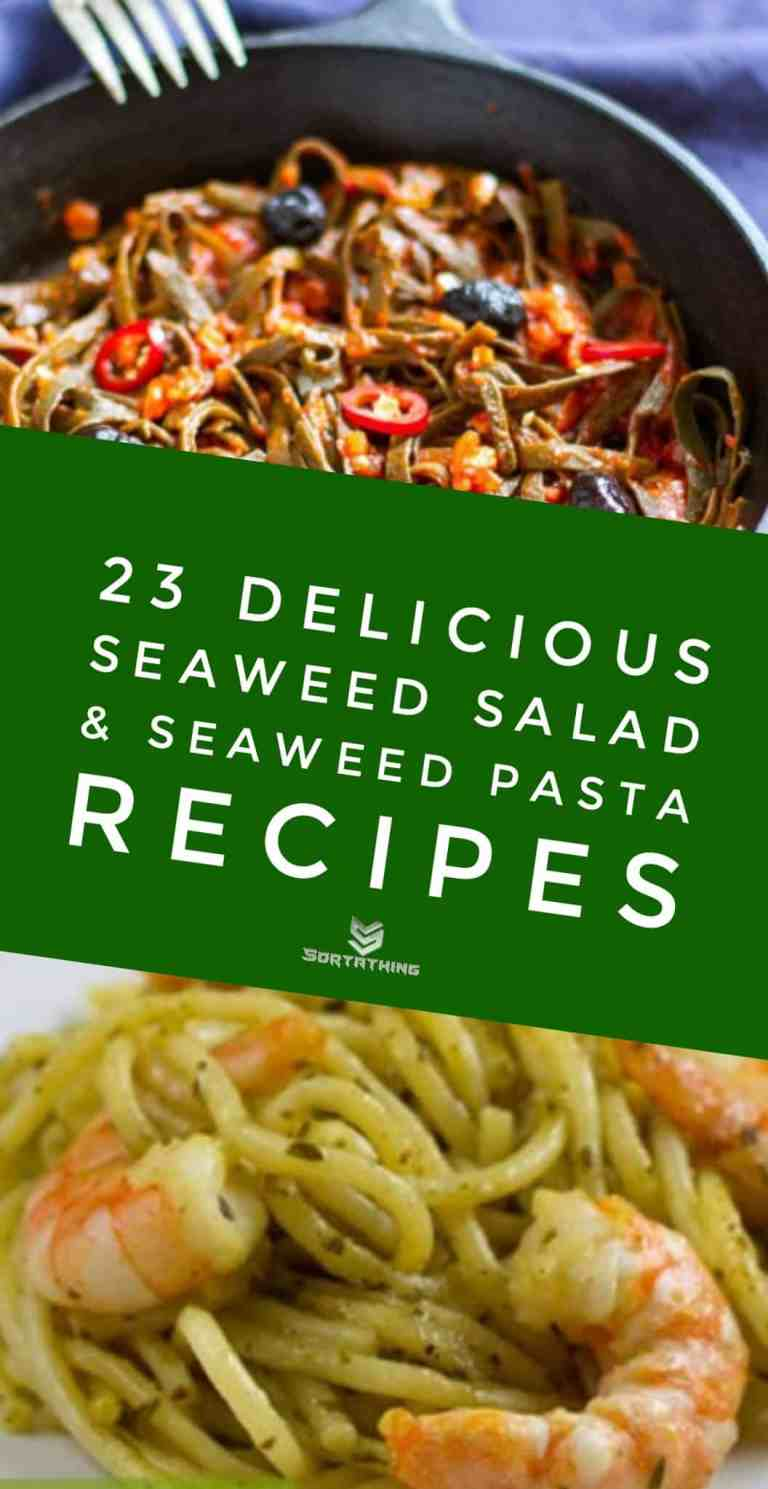 Low-Carb Paleo Gluten-Free Seaweed Pasta all' Amatriciana & Seaweed Pesto Zucchini Noodles with Shrimp