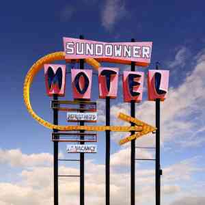 """Sundowner Motel, Desert Shores CA - Edition of 9"" - Original Artwork by Ed Freeman"