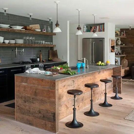 Unbeatable kitchen island with stools #kitchen #kitchenisland #kitchendesign #kitchenideas