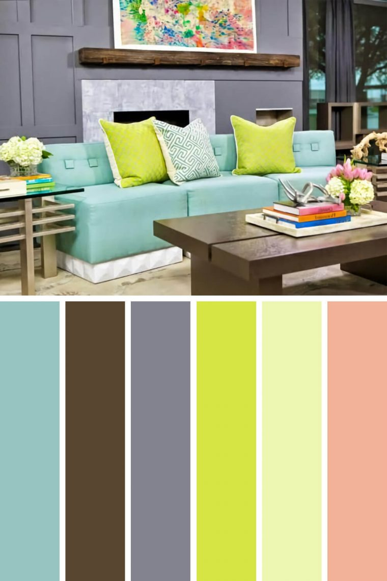Striking living room color schemes green