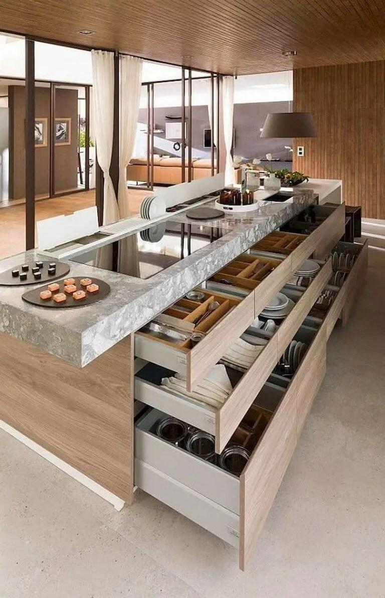 Creative Kitchen Island Ideas with food storage